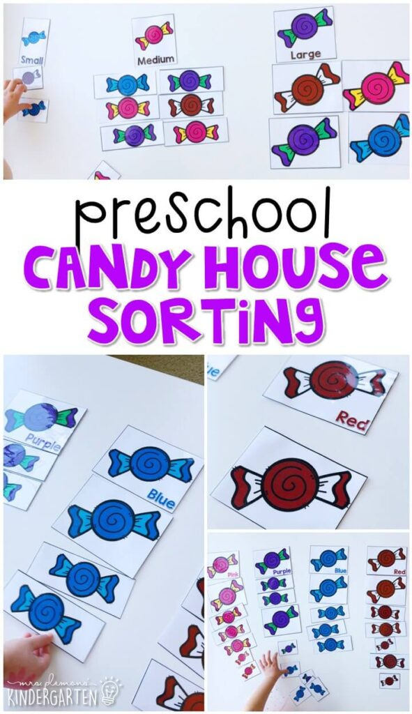 These candy house sorting cards are fun way to work on sorting skills with a fairy tale theme. Great for tot school, preschool, or even kindergarten!