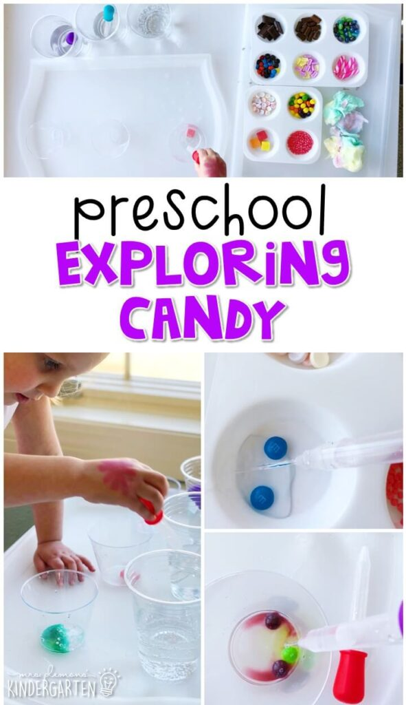 We had so much fun exploring candy and science with this fun kid safe chemistry inspired science activity. Great for a fairy tale theme in tot school, preschool, or even kindergarten!