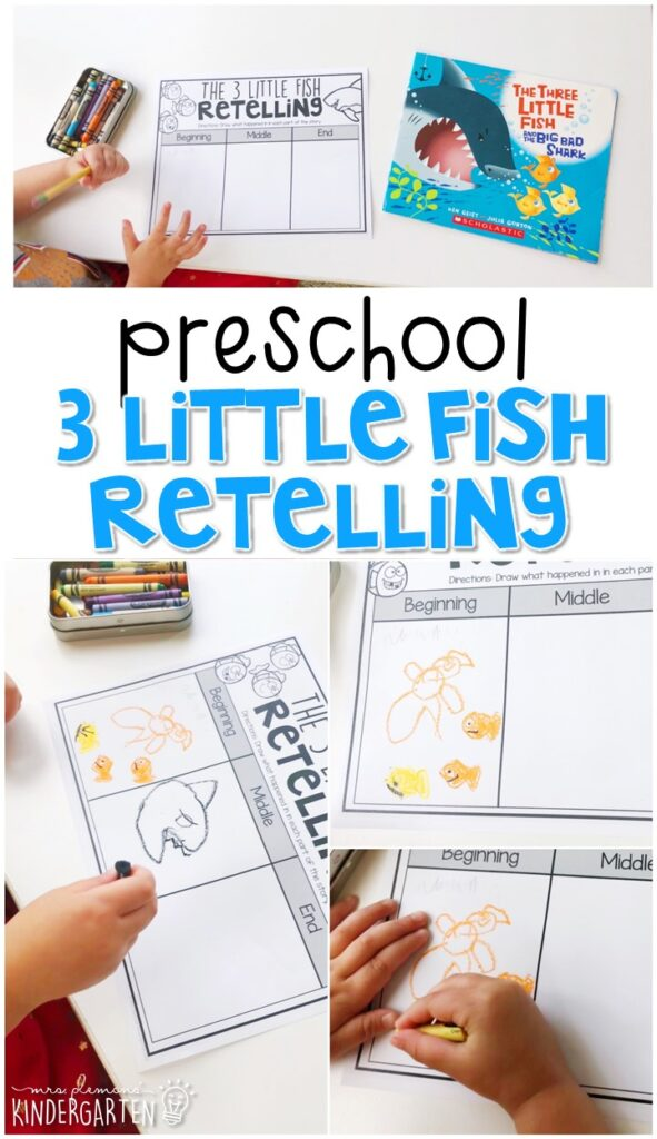 """Practice retelling with """"The Three Little Fish And The Big Bad Shark"""" by Will Grace. Great for an ocean theme in tot school, preschool, or even kindergarten!"""