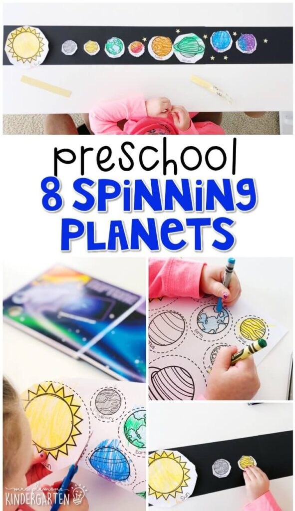 """Learn all about planets with """"Eight Spinning Planets"""" by Brian James then practice putting them in order. Great for a space theme in tot school, preschool, or even kindergarten!"""