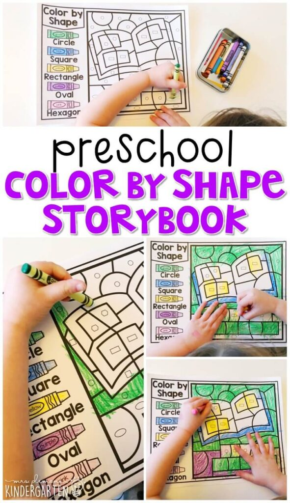 This color by shape storybook activity is perfect for identifying and naming shapes and fine motor practice with a fairy tale theme. Great for tot school, preschool, or even kindergarten!