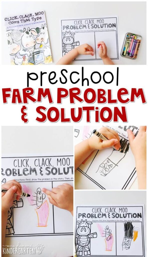 "Practice identifying problem and solution with ""Click Clack Moo: Cows That Type"" by Doreen Cronin. Great for a farm theme in tot school, preschool, or even kindergarten!"