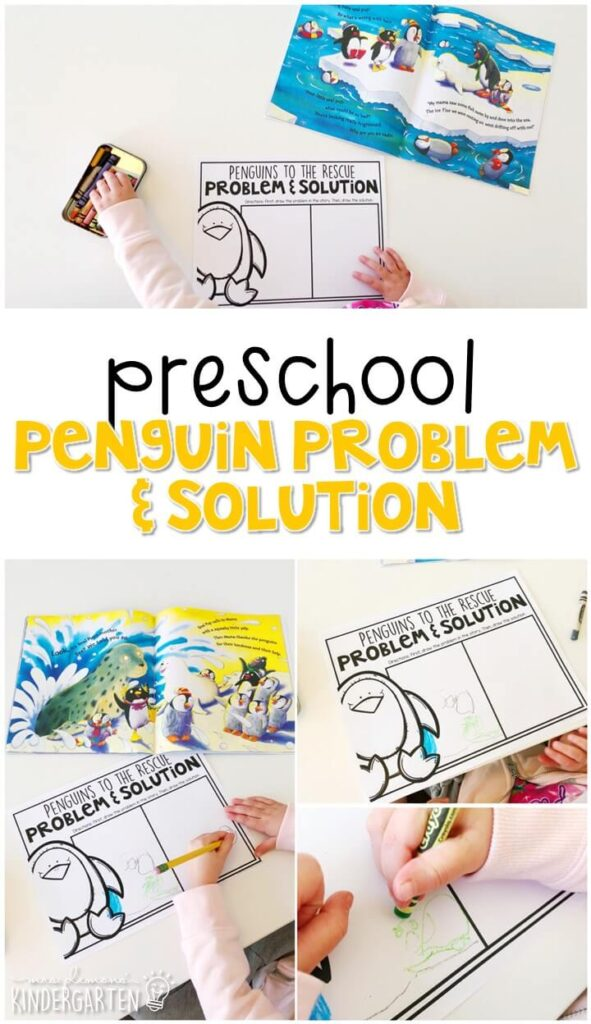 "Practice identifying problem and solution with ""Penguins to the Rescue"" by Tony Mitton. Great for a penguin or winter theme in tot school, preschool, or even kindergarten!"