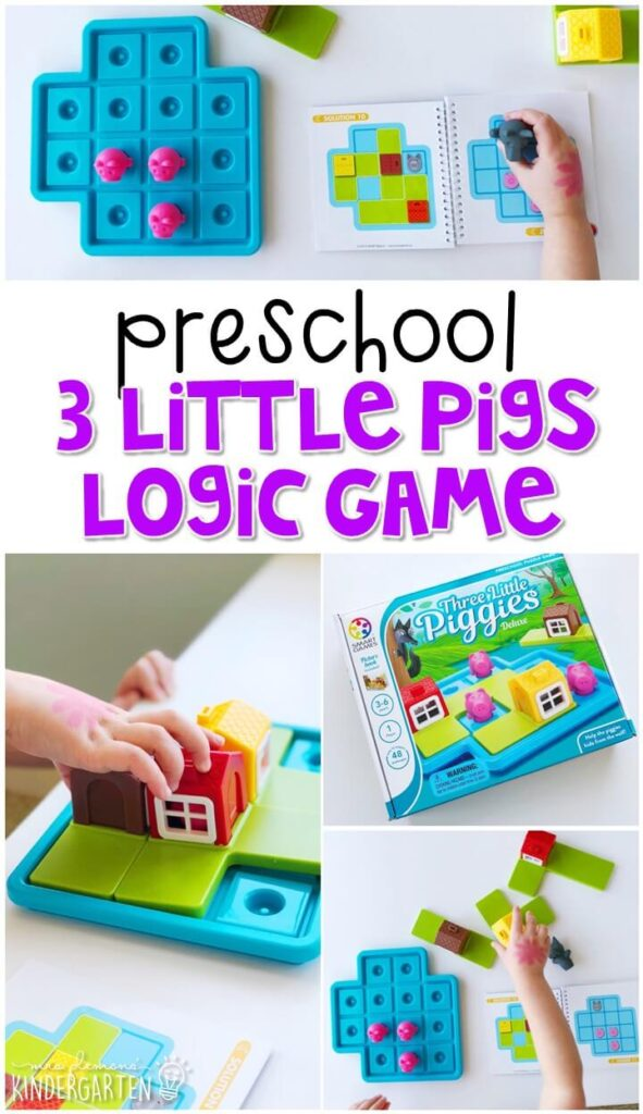 This 3 little pigs logic game has 48 challenges included at varying levels. Such a fun way to practice spatial awareness and problem solving skills. Great for a fairy tale theme in tot school, preschool, or even kindergarten!