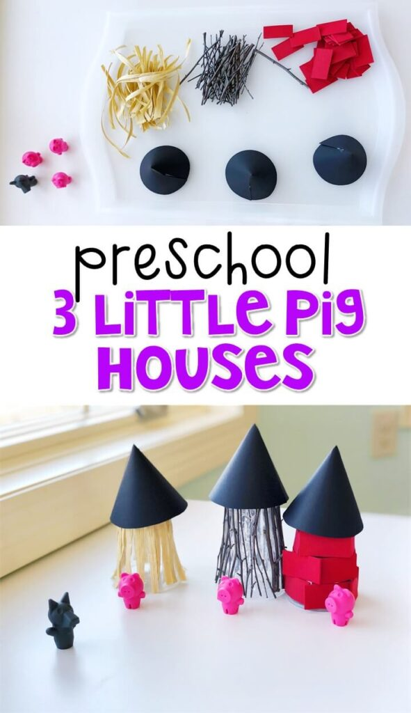 This 3 little pigs house craft was fun way to create our own dramatic play pieces and work on fine motor skills. Great for a fairy tale theme in tot school, preschool, or even kindergarten!