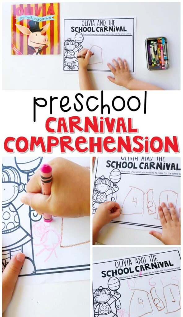 """Practice reading comprehension and making text to self connections with """"Olivia and the School Carnival"""" By Tina Gallo. Great for a carnival theme in tot school, preschool, or even kindergarten!"""