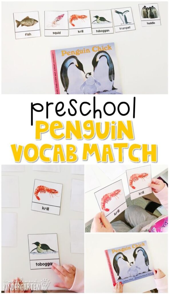 Practice penguin vocabulary with this word matching activity. Great for a penguin or winter theme in tot school, preschool, or even kindergarten!