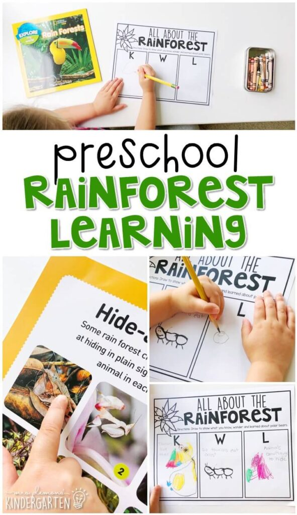 This rainforest journal writing activity is a great way to show learning, practice fine motor skills and learn about writing. Great for spring in tot school, preschool, or even kindergarten!