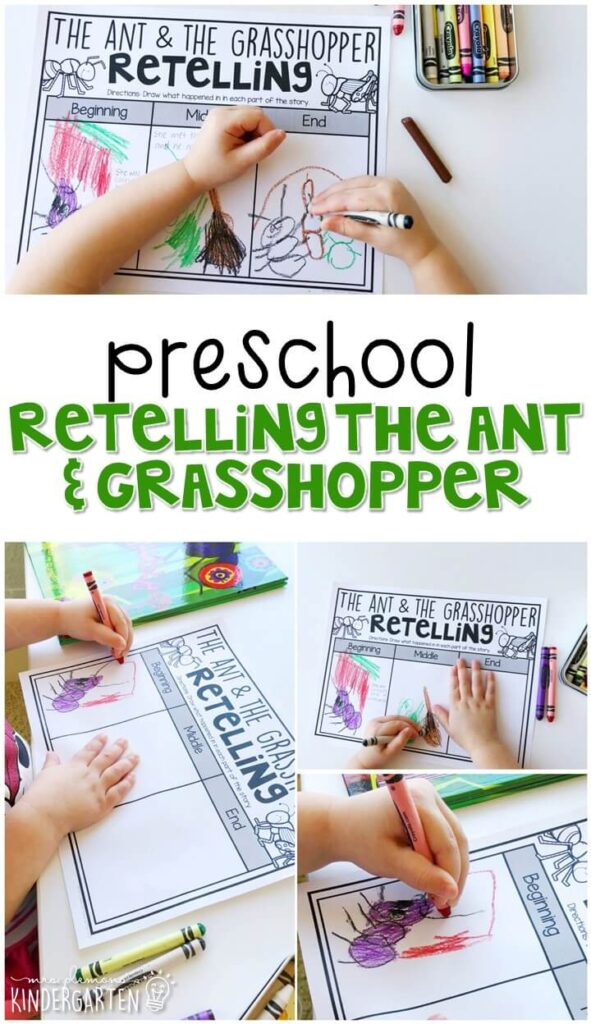 """Practice retelling with """"The Ant & The Grasshopper"""" by Ed Emberley. Great for tot school, preschool, or even kindergarten!"""