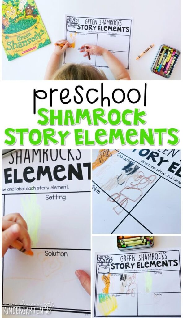 "Practice story elements with ""Green Shamrocks"" by Eve Bunting. Great for St. Patrick's Day in tot school, preschool, or even kindergarten!"