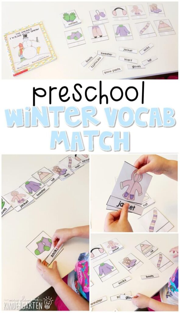Practice beginning reading skill and vocabulary with this winter clothing vocabulary matching activity. Great for winter in tot school, preschool, or even kindergarten!