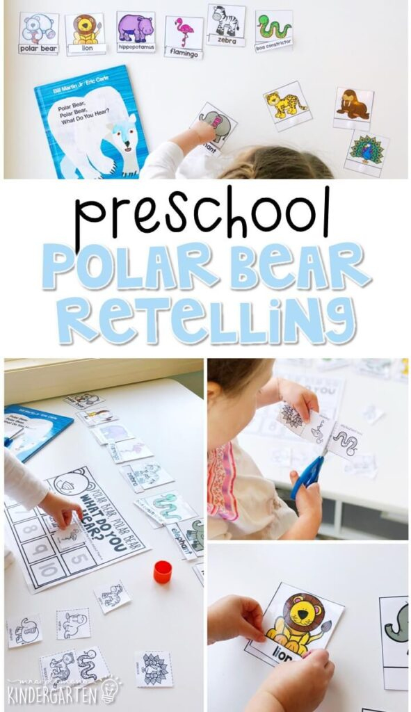 "Practice retelling a story with ""Polar Bear, Polar Bear What Do You Hear"" by Eric Carle. Great for a polar bear theme in tot school, preschool, or even kindergarten!"