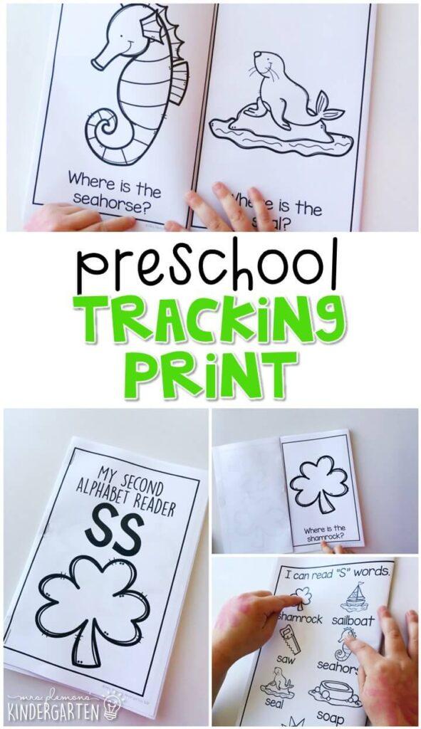 Practice tracking print with these easy readers. Great for tot school, preschool, or even kindergarten!