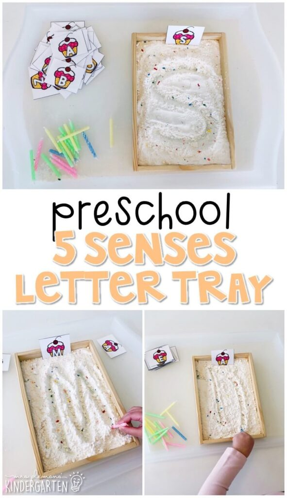 This funfetti cake mix writing tray is fun for letter writing and fine motor practice with a five senses theme. Great for tot school, preschool, or even kindergarten!