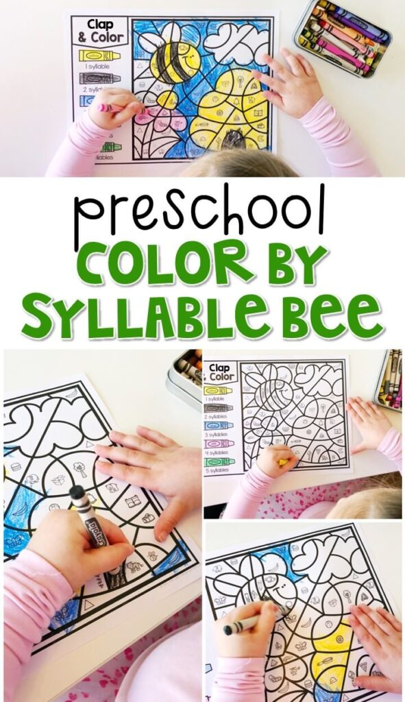 This color by syllable bee activity is great for identifying syllables and fine motor practice. Great for an insect theme in tot school, preschool, or even kindergarten!