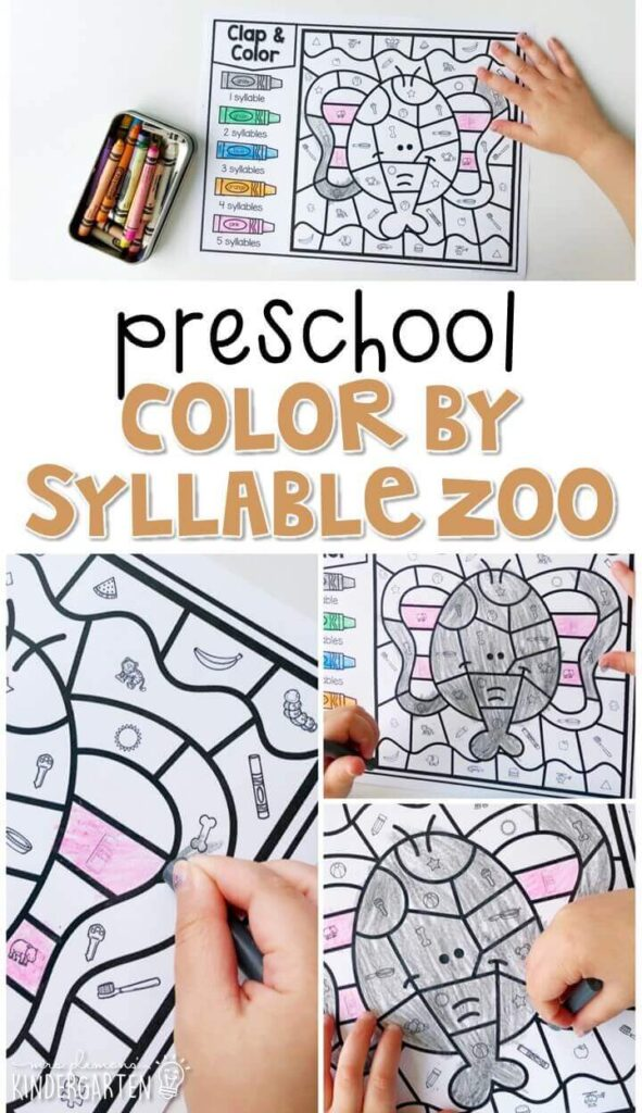 This color by syllable zoo activity is great for identifying syllables and fine motor practice. Great for a zoo theme in tot school, preschool, or even kindergarten!