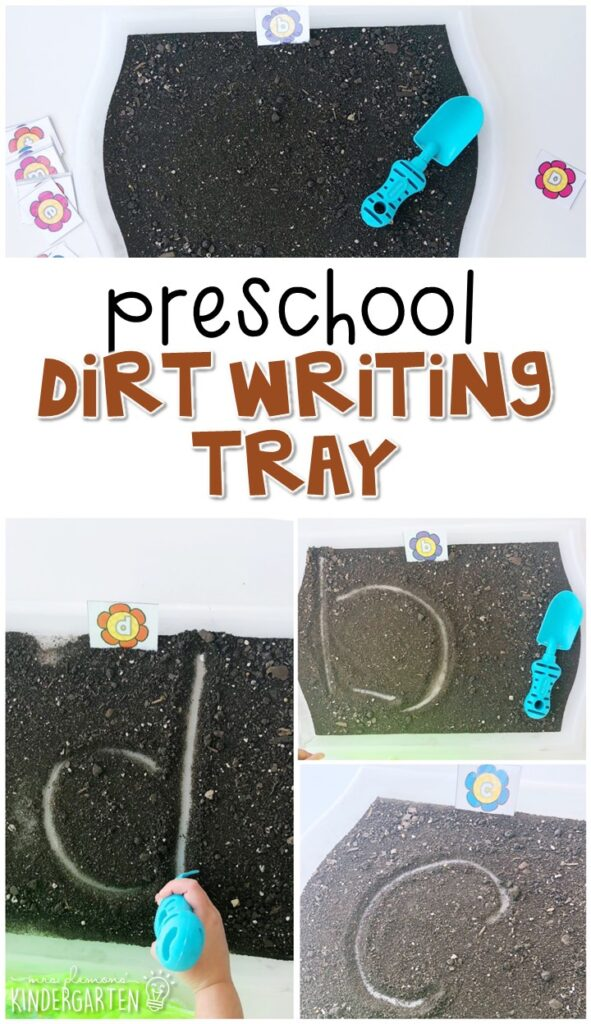 This dirt letter writing tray is fun for letter writing and fine motor practice with a plant theme. Great for tot school, preschool, or even kindergarten!