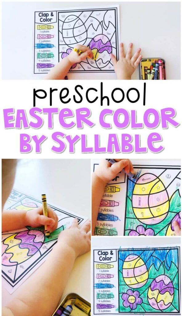 This color by syllable egg activity is great for identifying syllables and fine motor practice. Great for an Easter theme in tot school, preschool, or even kindergarten!
