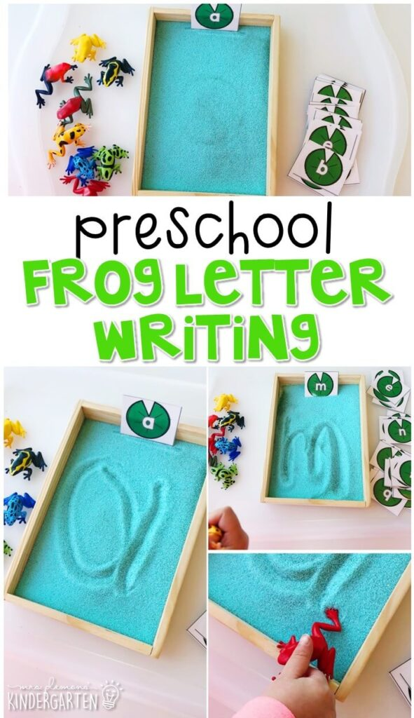 This frog journal writing activity is a great way to show learning, practice fine motor skills and learn about writing. Great for spring in tot school, preschool, or even kindergarten!