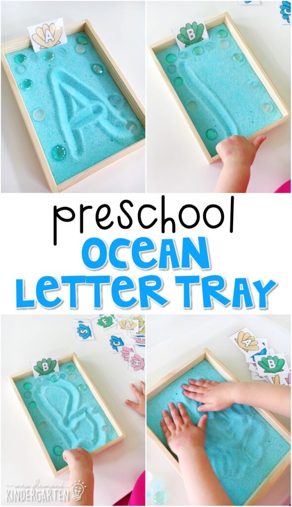 This ocean themed sand tray is fun for letter writing and fine motor practice with an ocean theme. Great for tot school, preschool, or even kindergarten!