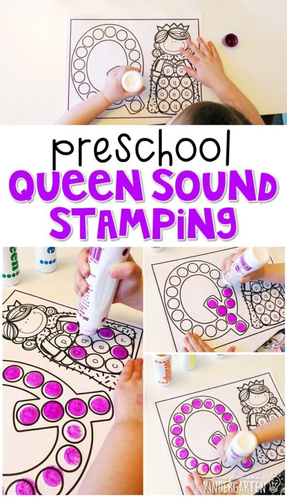 This queen sound stamping activity is perfect for letter, sound, and fine motor practice with a fairy tale theme. Great for tot school, preschool, or even kindergarten!