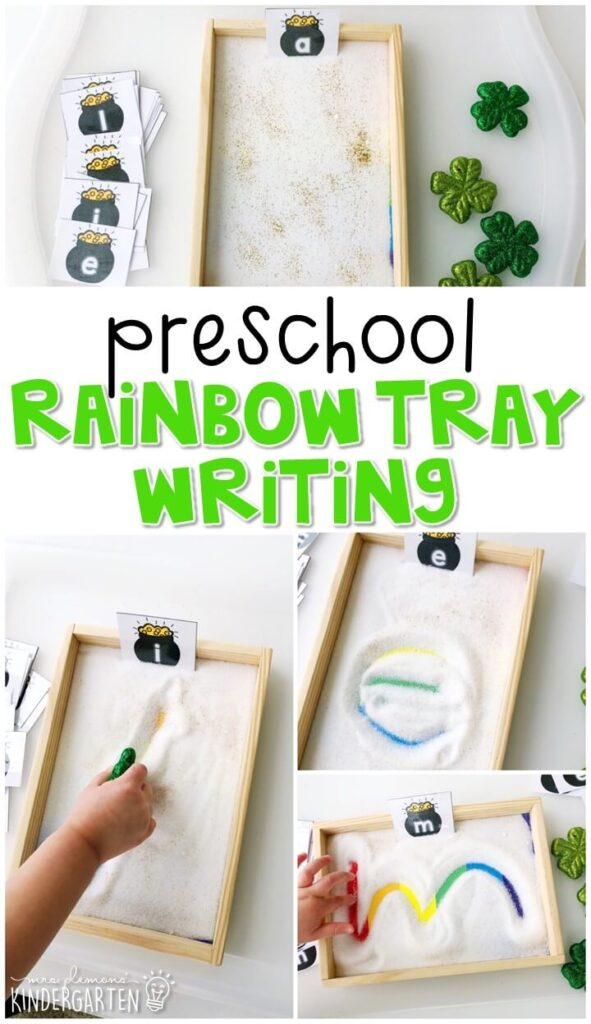 This rainbow themed sand tray is fun for letter writing and fine motor practice with a St. Patrick's Day theme. Great for spring in tot school, preschool, or even kindergarten!