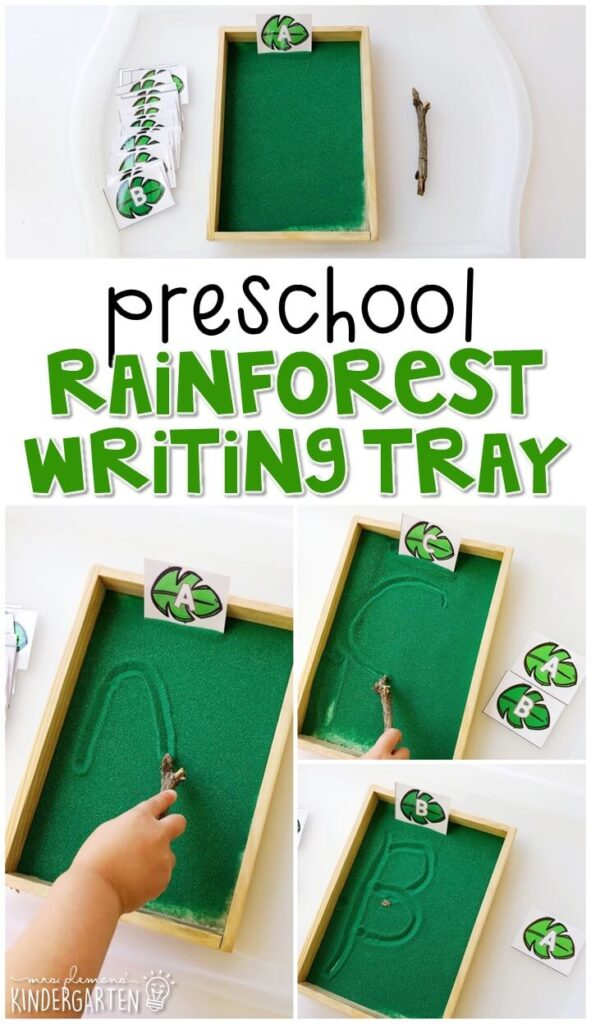 This rainforest themed sand tray is fun for letter writing and fine motor practice with a rainforest theme. Great for spring in tot school, preschool, or even kindergarten!