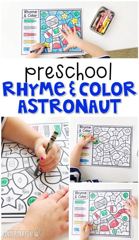 This rhyme & color astronaut activity is great for identifying rhymes and fine motor practice. Great for a space theme in tot school, preschool, or even kindergarten!
