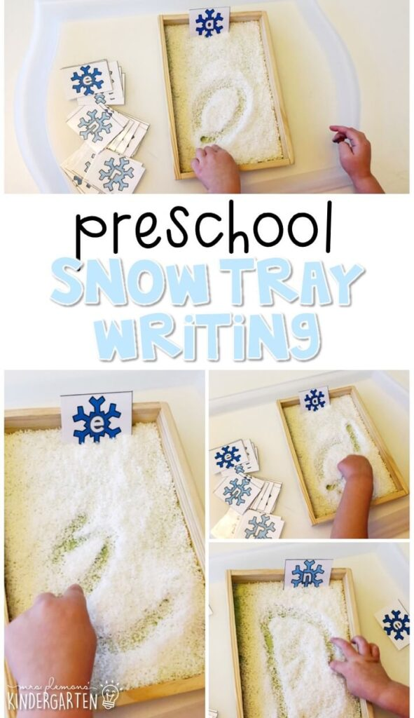 This winter themed snow writing tray is fun for letter writing and fine motor practice with a winter theme. Great for tot school, preschool, or even kindergarten!