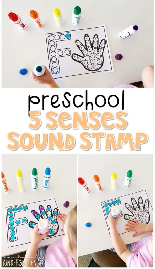 This five senses sound stamping activity is perfect for letter, sound, and fine motor practice with a five senses theme. Great for tot school, preschool, or even kindergarten!