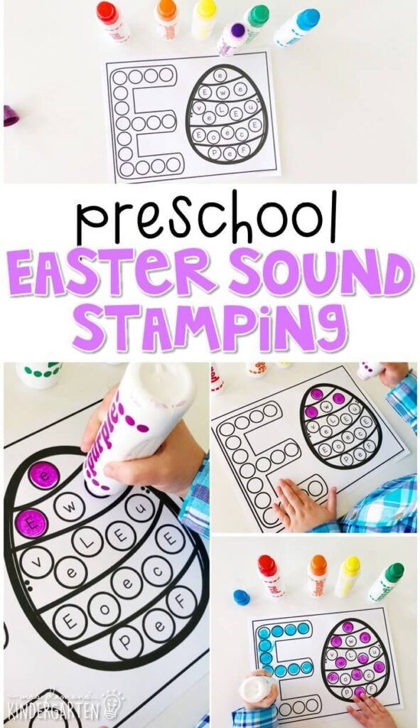 This egg sound stamping activity is perfect for letter, sound, and fine motor practice with an Easter theme. Great for tot school, preschool, or even kindergarten!