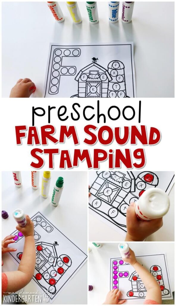 This farm sound stamping activity is perfect for letter, sound, and fine motor practice with a farm theme. Great for tot school, preschool, or even kindergarten!
