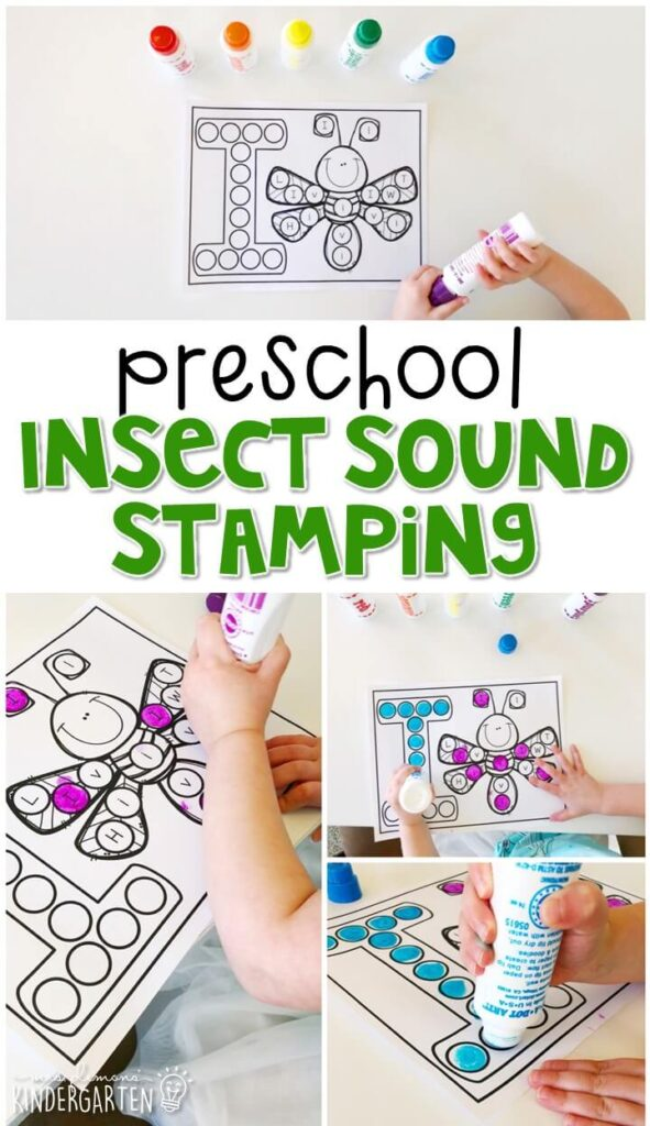 This insect sound stamping activity is perfect for letter, sound, and fine motor practice with a bug theme. Great for tot school, preschool, or even kindergarten!