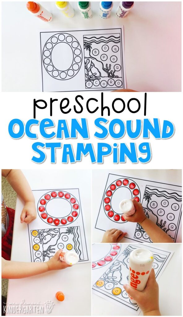 This ocean sound stamping activity is perfect for letter, sound, and fine motor practice with an ocean theme. Great for tot school, preschool, or even kindergarten!