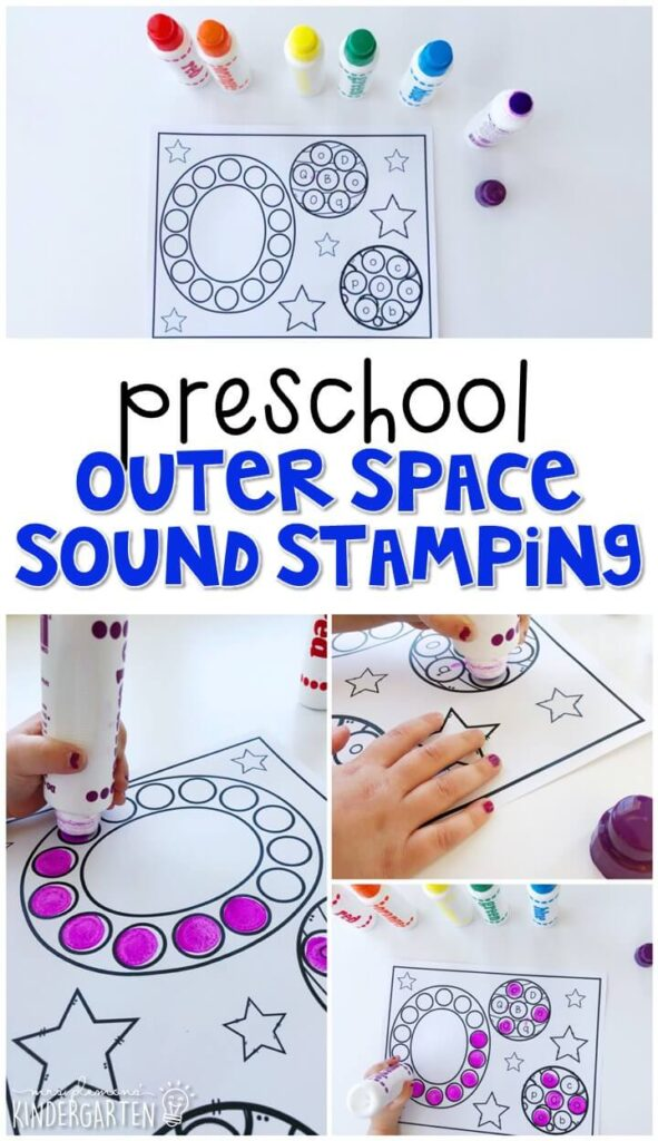 This space sound stamping activity is perfect for letter, sound, and fine motor practice with a space theme. Great tot school, preschool, or even kindergarten!