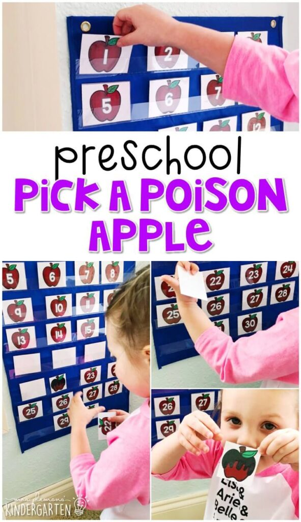 This pick a poison apple math activity was a fun way to focus on identifying number 1-30 with a fairy tale theme. Great for tot school, preschool, or even kindergarten!