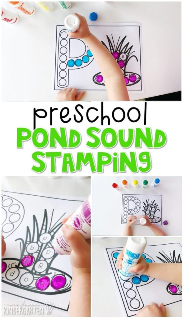 This pond sound stamping activity is perfect for letter, sound, and fine motor practice with a frog theme. Great for spring in tot school, preschool, or even kindergarten!