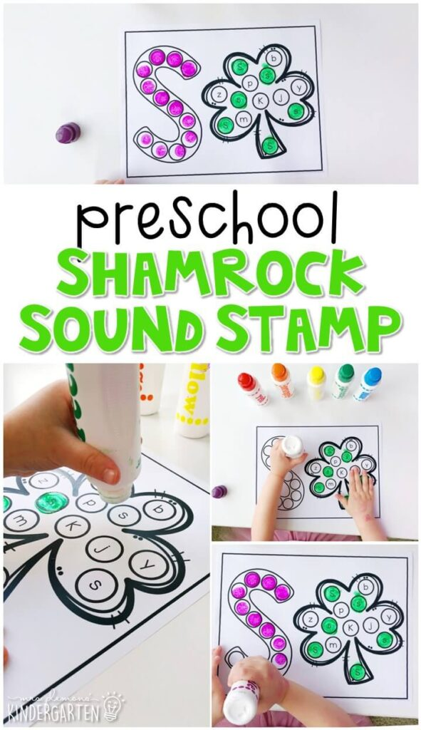 This shamrock sound stamping activity is perfect for letter, sound, and fine motor practice with a St. Patrick's Day theme. Great for spring in tot school, preschool, or even kindergarten!