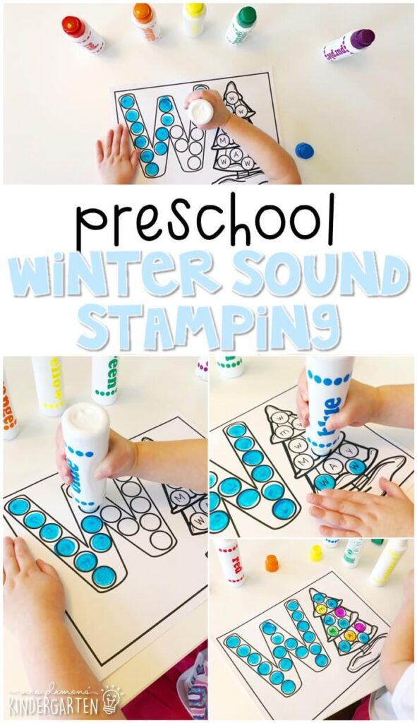 This winter sound stamping activity is perfect for letter, sound, and fine motor practice with a winter theme. Great for winter in tot school, preschool, or even kindergarten!