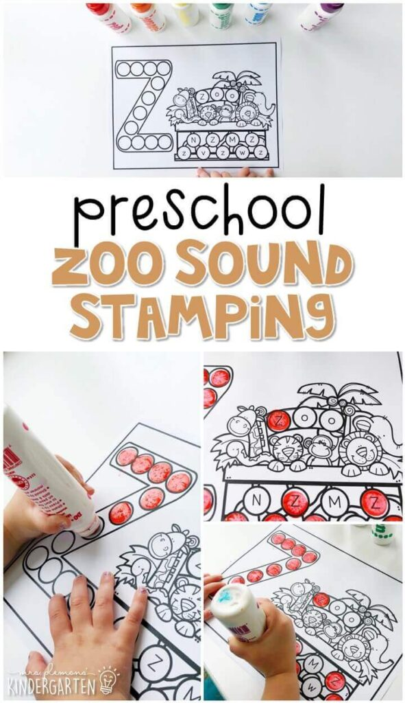 This zoo sound stamping activity is perfect for letter, sound, and fine motor practice with a zoo theme. Great for tot school, preschool, or even kindergarten!