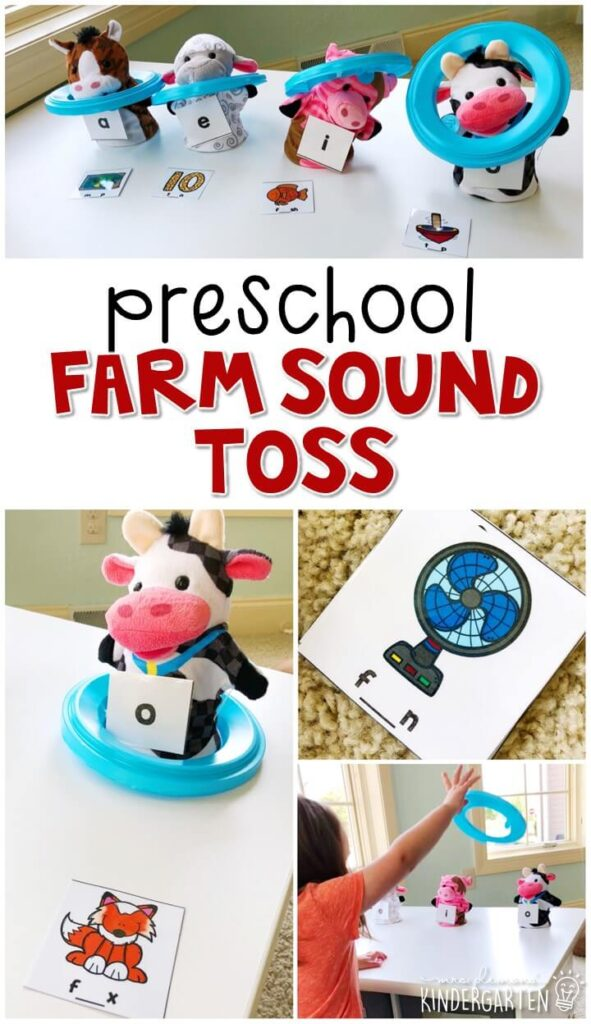This farm sound toss activity is a fun and easy way to work on vowel sounds with a farm theme. Great for tot school, preschool, or even kindergarten!