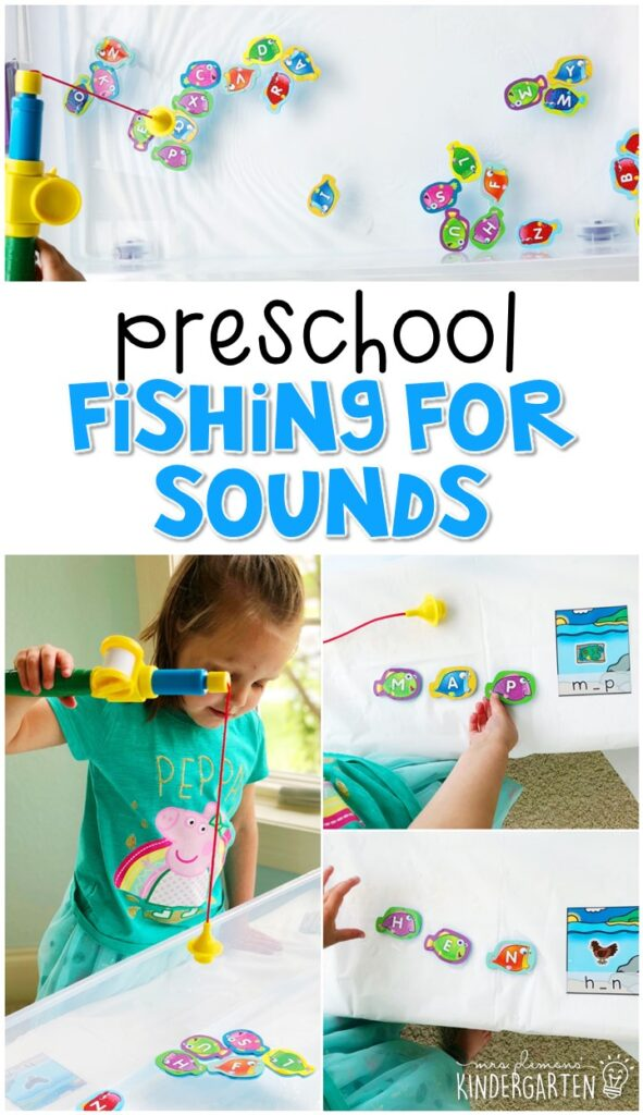 This fishing for sounds activity is a fun and easy way to work on identifying sounds in CVC words with the added bonus of fine motor practice. Great for an ocean theme in tot school, preschool, or even kindergarten!