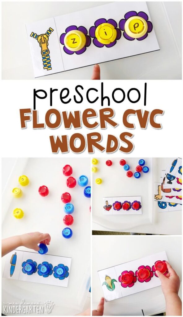 This flower cvc words activity is a fun and easy way to work on letter sounds with a plants theme. Great for tot school, preschool, or even kindergarten!This flower cvc words activity is a fun and easy way to work on letter sounds with a plants theme. Great for tot school, preschool, or even kindergarten!