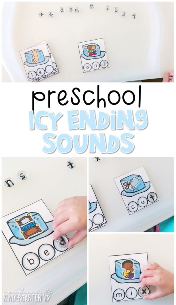 This icy ending sounds activity is a fun and easy way to introduce ending sounds in words with a chilly winter theme. Great for winter in tot school, preschool, or even kindergarten!