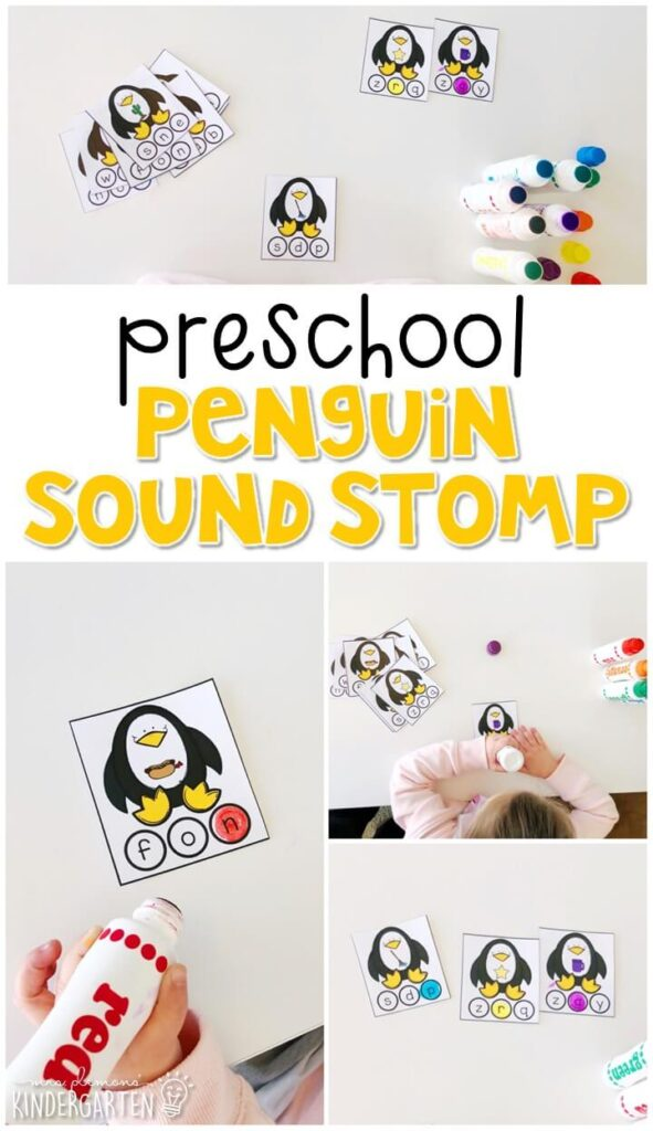 This penguin sound stamp activity is a fun and easy way to work on ending sounds with a penguin theme. Great for winter in tot school, preschool, or even kindergarten!