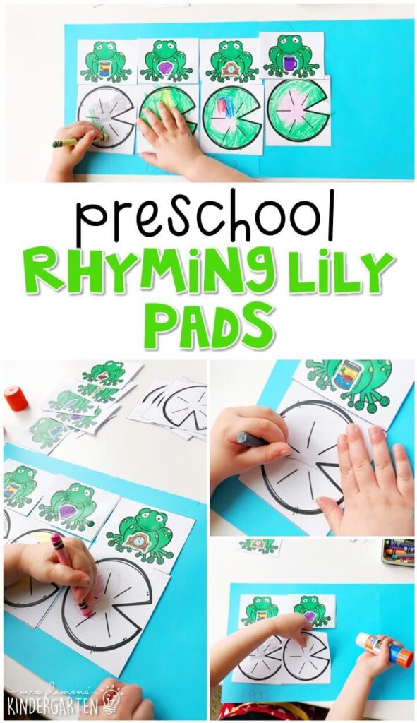 This rhyming lily pad activity is a fun and crafty to work on rhyming pairs with a frog theme. Great for spring in tot school, preschool, or even kindergarten!
