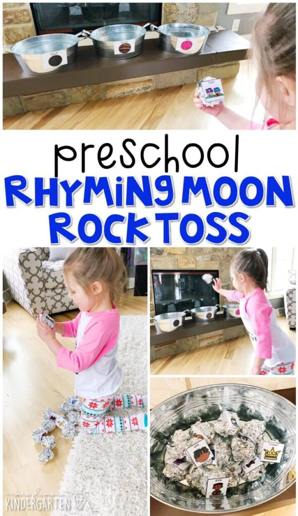 This rhyming moon rock toss activity is a fun and easy way to work on rhyming words in a very active way. Great for a space theme in tot school, preschool, or even kindergarten!