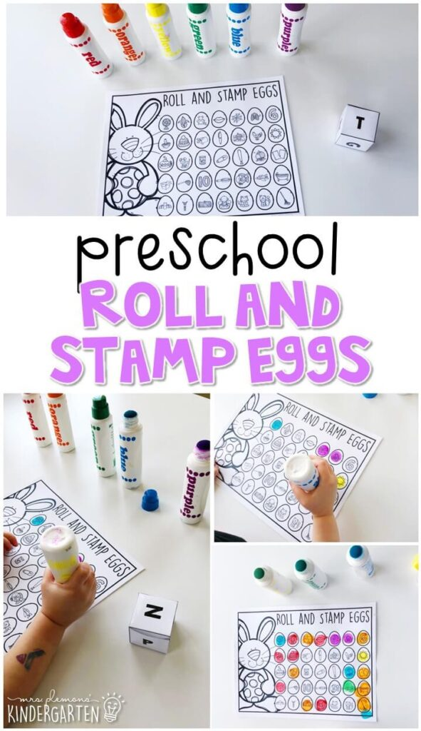 This roll and stamp egg activity is a fun and easy way to work on ending sounds with an Easter theme. Great for spring in tot school, preschool, or even kindergarten!
