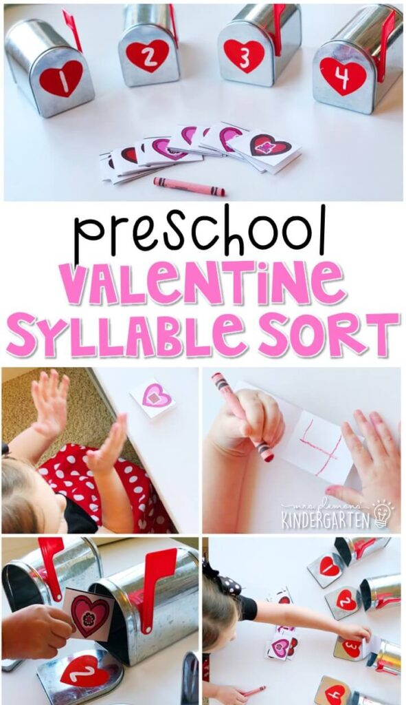 This valentine syllable sort activity is a fun and easy way to work on beginning sounds with a valentine theme. Great for tot school, preschool, or even kindergarten!