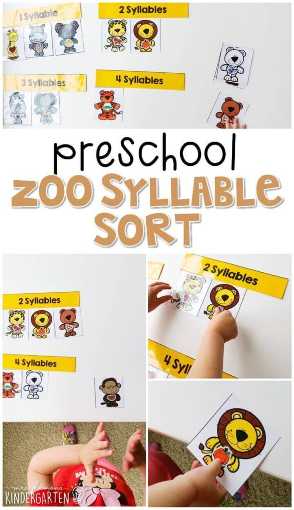 This zoo syllable sort activity is a fun and easy way to work on syllables with a zoo theme. Great for tot school, preschool, or even kindergarten!